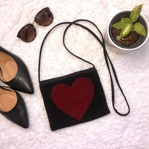 Moschino Beaded Heart Black Red Purse Bag